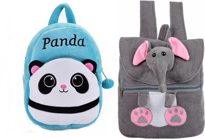 Frantic Cute Grey Elephant & Cute Blue Panda Combo Kids School/Nursery/Picnic/Carry/Travelling Bag, 2-5 Years School Bag Waterproof Backpack Waterproof Backpack