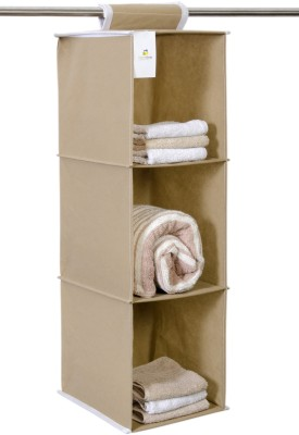HomeStrap HomeStrap Hanging 3 Shelf Wardrobe Organizer- Beige Closet Organizer