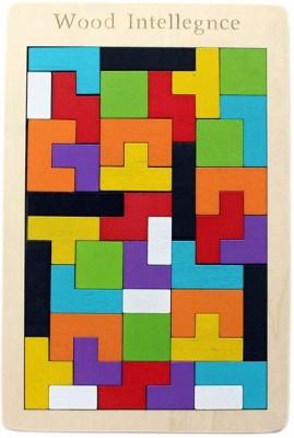 VAURUM Tetris Wooden Jigsaw Puzzle (40 Pieces) | Wood Intelligence Game | Tangram Brain Teaser | STEM Toys Kids 2+ Years