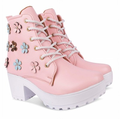 Zapatoz High Ankle Length Lace-Up Boots Boots For Women