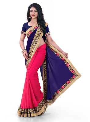 Kuki Fashion Embroidered Daily Wear Poly Georgette Saree