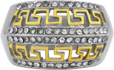 DzineTrendz Yellow and White Gold Plated, International Famous Fashion Brand Versace Inspired, Fashion Finger Ring Men Wedding, Partywear Brass Cubic Zirconia Gold Plated Ring