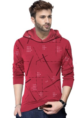Tripr Abstract Men Hooded Neck Red T-Shirt