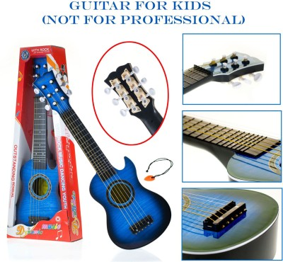 Wishkey Guitar Toys For Kids Fully Functional With Pick|6 String Classical Blue Big Size Guitar Toy |Musical Acoustic Guitar With Adjustable Tunning Knob |Musical Instruments For Beginners Boys|High Quality Plastic Guitar Toy 21 Inch With Wood Finish for Children Of Age 6+ Years
