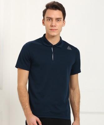REEBOK Self Design Men's Polo Neck Blue T-Shirt