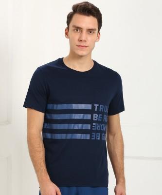 REEBOK Printed Men Round or Crew Blue T-Shirt