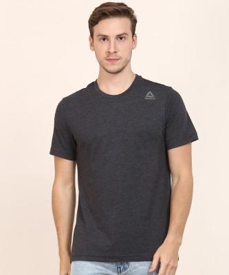REEBOK Solid Men Round or Crew Black T-Shirt