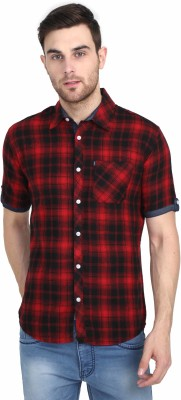 Rope Men's Checkered Casual Red Shirt