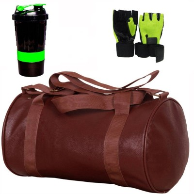 5 O' CLOCK SPORTS Gym Bag Combo Set Enclosed With Soft Leather Gym Bag For Men and Women For Fitness - Bag Size 49cm x 24cm x 24cm - Brown Color, Spider Shaker - Green Color and Leather Gym Gloves With Wrist Support- Green Color Gym & Fitness Kit