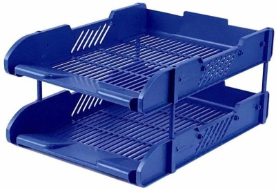 Cpixen 2 Compartments PLASTIC Letter Trays, File Holder Rack Desk File Sorters Organizer Stacking Desk Organiser Desktop File Mail Sorter Letter A4 Size Files Folders Notebooks Binders Magazines Document Tray Paper Holder 2 Tiers