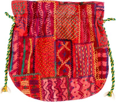 Lambani Embroidery Cotton Red Potli Bag Potli
