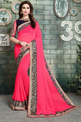 Aashvi Creation Embroidered, Embellished Fashion Georgette Saree