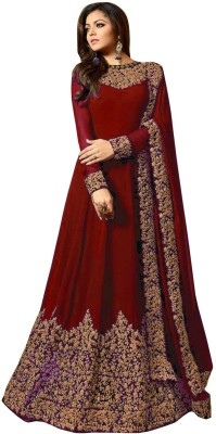 Ethnic Yard Faux Georgette Embroidered Salwar Suit Material
