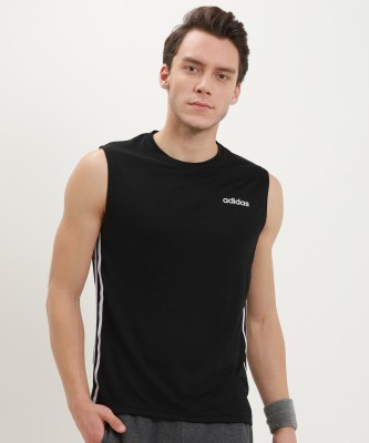 ADIDAS Self Design Men Round Neck Black T-Shirt