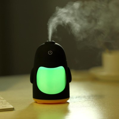 Romino Penguin Shaped Mini Air Freshener Humidifier with LED Night Light for Car Home and Office Portable Room Air Purifier