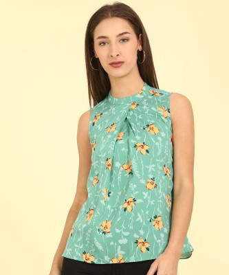 AND Casual Sleeveless Printed Women Green Top