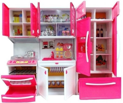 J K INTERNATIONAL Modern Kitchen Toy Set, Battery Operated Play Set with Refrigerator, Accessories, Fruits, Music and Lights, Pretend Play Toy (18X12 Inches)