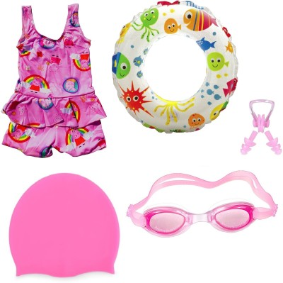 Arrowmax HIGH QUALITY Baby Girls PINK SWIMMING COSTUME (3-4 Years) GOGGLES CAP 2 EARPLUG NOSE CLIP SWIMSUIT with Swim Ring Swimming Kit