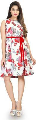 New Ethnic 4 You Women Fit and Flare Pink Dress