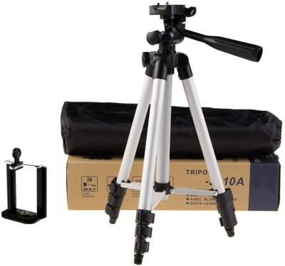techobucks New Arrival Adjustable Portable Aluminium Lightweight Camera Stand Tripod-3110 With Three-Dimensional Head & Quick Release Plate For Video Cameras and mobile clip holder for All Mobiles & Smartphones Tripod