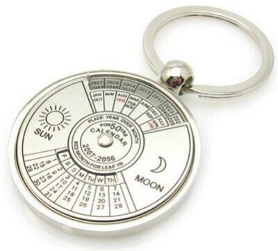 GESTIONE 50 Years Calender Date Month Year Day Time Compass Keychain Keyring Collectible Key Chain