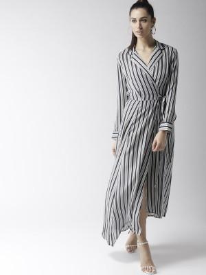 Popnetic Women Wrap Black, White Dress