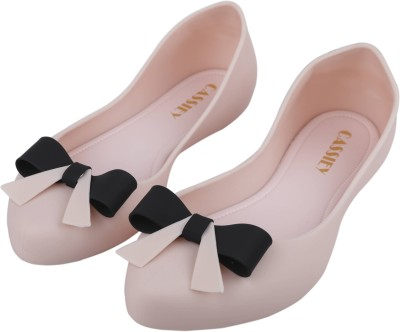 IRSOE Cassiey Latest Collection, Comfortable & Fashionable Pink and Black Bow Knot Bellies for Women's/Girl's Ballet Flats/Ballerinas Bellies For Women