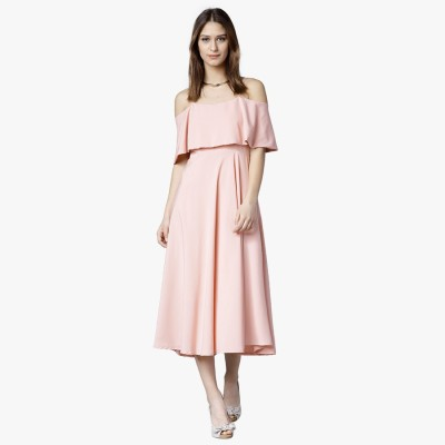 Tokyo Talkies Women Fit and Flare Pink Dress