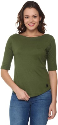 People Solid Women Boat Neck Dark Green T-Shirt