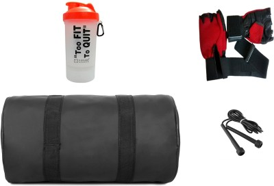 5 o' clock sports Combo Of Leatherite Black Gym Bag , and orange shaker too fit, rope with red gloves Gym & Fitness Kit Gym & Fitness Kit