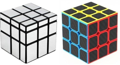 YAMAMA High Speed Carbon Fiber Sticker 3x3 & Silver Mirror Magic Rubik Cube Combo (2 Pieces)
