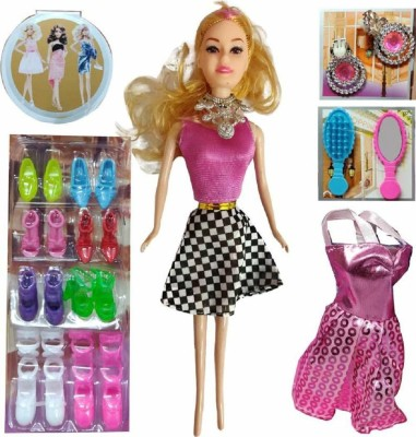 Oongly Girl's Fashion Doll with Dresses Makeup and Barbie Doll Accessories, Style Wardrobe Doll Set for Girls, Doll Toy for Kids