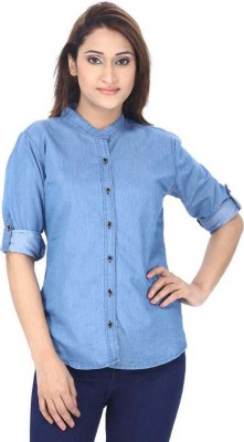 Saira fashion Casual Roll-up Sleeve Solid Women Blue Top