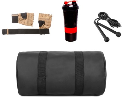 5 o' clock sports Black Gym Bag , and red spider, rope with brown gloves Gym & Fitness Kit Gym & Fitness Kit
