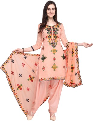 EthnicJunction Poly Chanderi Embroidered, Solid Salwar Suit Material