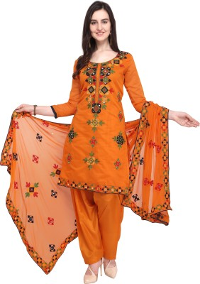 EthnicJunction Poly Chanderi Embroidered Salwar Suit Material