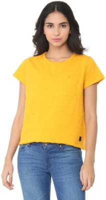 People Solid Women Round Neck Yellow T-Shirt