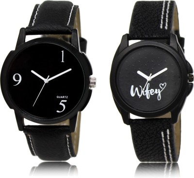 FASHION POOL BLACK & BLACK PROFESSIONAL DIAL GENTS WATCH COUPLE COMBO WITH WIFEY DESIGNER LADIES WATCH FOR BOYS_GIRLS LEATHER BELT NEW ARRIVAL FAST SELLING TRACK DESIGNER WATCH FOR FESTIVAL_PARTY_PROFESSIONAL_VALENTINE_BIRTHDAY GIFT SPECIAL COMBO WATCH FOR MEN_WOMEN Watch  - For Couple