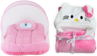 Brandonn Pack Combo Of Mosquito Net Bedding Set And Wrapper Hooded Baby Blanket Cum Bath Towel (Pack Of 2) Portable Bedding With Mosquito Net crib