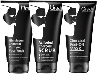 qraa Charcoal Kit: Charcoal Scrub, Charcoal Face wash, Charcoal Peel-off Mask For Men-With Tea tree oil