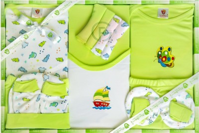 Mini Berry New Born Baby Gifts Set-13 Pcs ( Green )