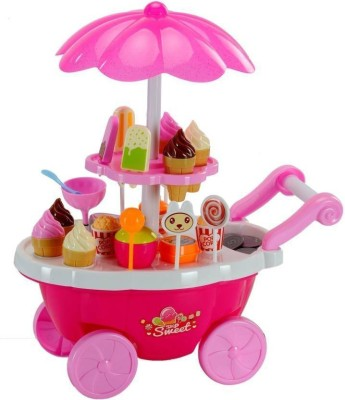 SS INTERNATIONAL Ice Cream Kitchen Play Cart Kitchen Set Toy with Lights and Music