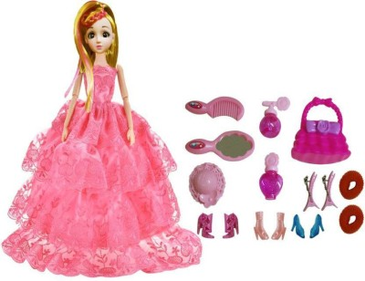 KARMA ENTERPRISES Gorgeous Princess Doll with Pretty Gown and Fashion Accessories for Kids (Multicolor)