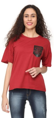 People Solid Women Round Neck Maroon T-Shirt