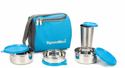 Signoraware Best Steel Lunch Box, Blue (500ml+350ml+200ml) with Steel Tumbler 370ml 3 Containers Lunch Box