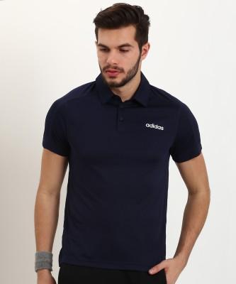 ADIDAS Self Design Men Polo Neck Blue T-Shirt
