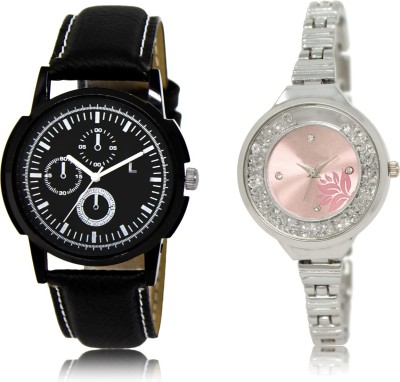 FASHION POOL NEW ARRIVAL FAST SELLING ROUND ANALOG DIAL '' SILVER & BLACK '' COUPLE COMBO WATCH. METAL & LEATHER BELT NEW ARRIVAL FAST SELLING TRACK DESIGNER WATCH FOR FESTIVAL_PARTY_PROFESSIONAL_VALENTINE_BIRTHDAY GIFT SPECIAL COMBO WATCH FOR MEN_WOMEN Analog Watch  - For Couple