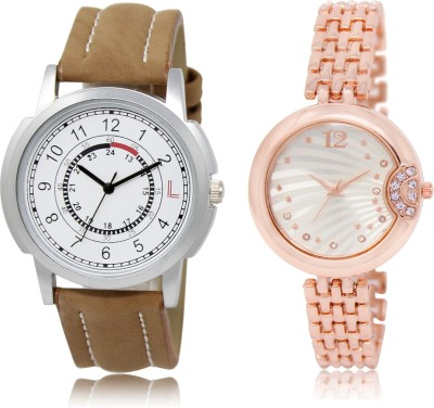 FASHION POOL NEW ARRIVAL FAST SELLING ROUND ANALOG DIAL '' BROWN & SLIVER '' COUPLE COMBO WATCH. METAL & LEATHER BELT NEW ARRIVAL FAST SELLING TRACK DESIGNER WATCH FOR FESTIVAL_PARTY_PROFESSIONAL_VALENTINE_BIRTHDAY GIFT SPECIAL COMBO WATCH FOR MEN_WOMEN Analog Watch  - For Couple