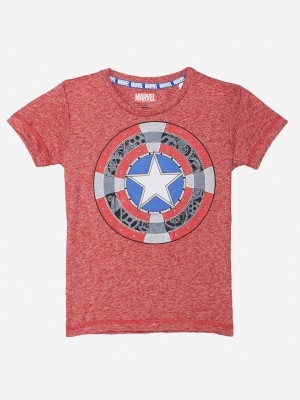 Captain America By Kidsville Boys Graphic Print Polycotton T Shirt