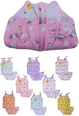 Fareto New Born Baby Combo of 1 Mosquito Net Bed & 8 Baby Aline Jhabla with 8 Nappies(0-3 Months) PID- Pink